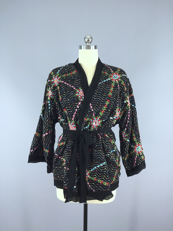 Silk Chiffon Kimono Cardigan / Vintage Indian Sari / Black ...