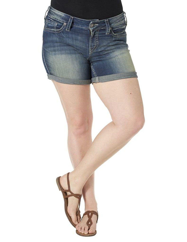 a40f2c1dac6ce Silver Jeans Womens Suki Curvy Fit Medium Wash Indigo Mid Shorts -- This is  an