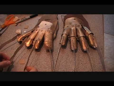 How to make a cardboard Freddy Krueger Glove Costumes/ makeup