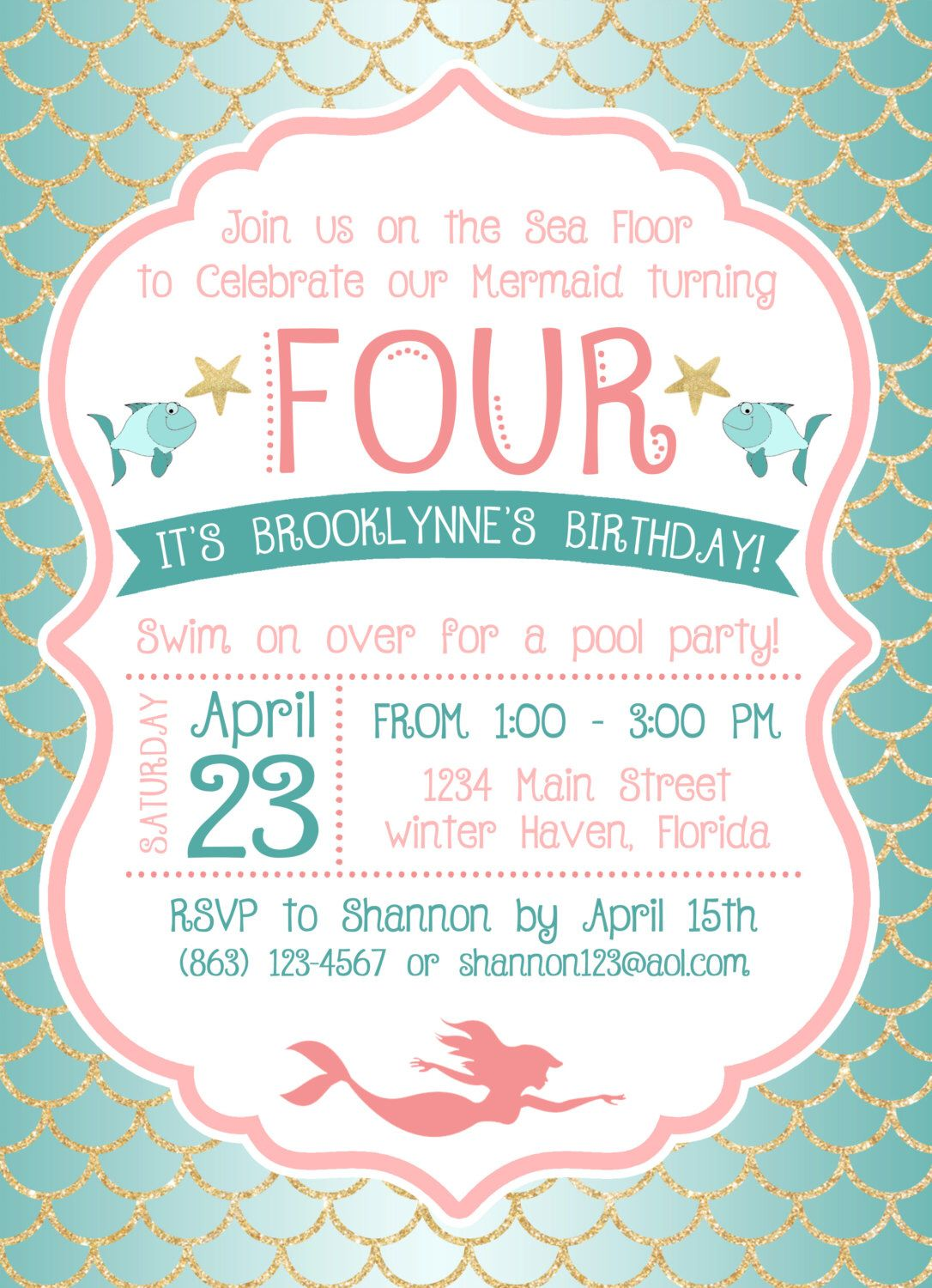 Under the Sea / Mermaid Birthday Party Invitation by ...