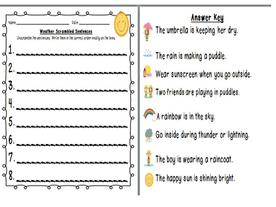 weather scrambled sentences sentences recording sheets and kindergarten. Black Bedroom Furniture Sets. Home Design Ideas