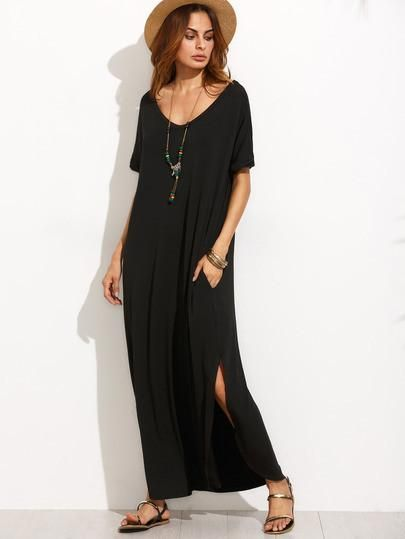 Black Maxi Dress With V Neck And Short Sleeves In 2018 Shop