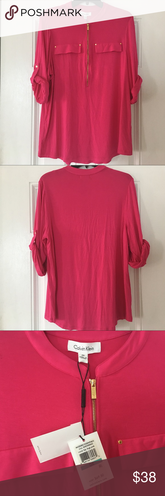 56c9f8ac CK Women's Modern Zip Front Roll Sleeve Blouse 0X Calvin Klein Women's Plus  Size Modern Essential