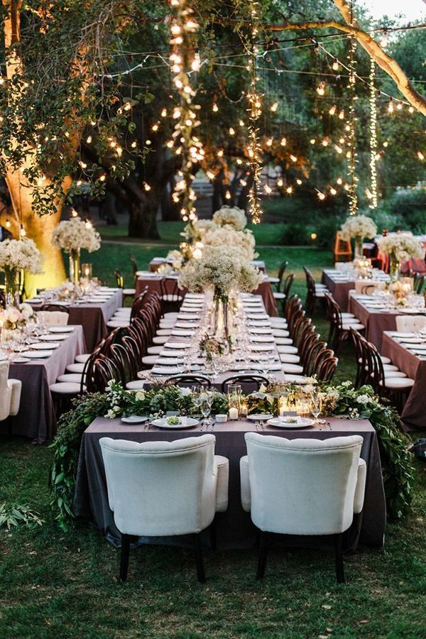 Rustic Elegance Backyard Wedding Reception Ideas With String Lights