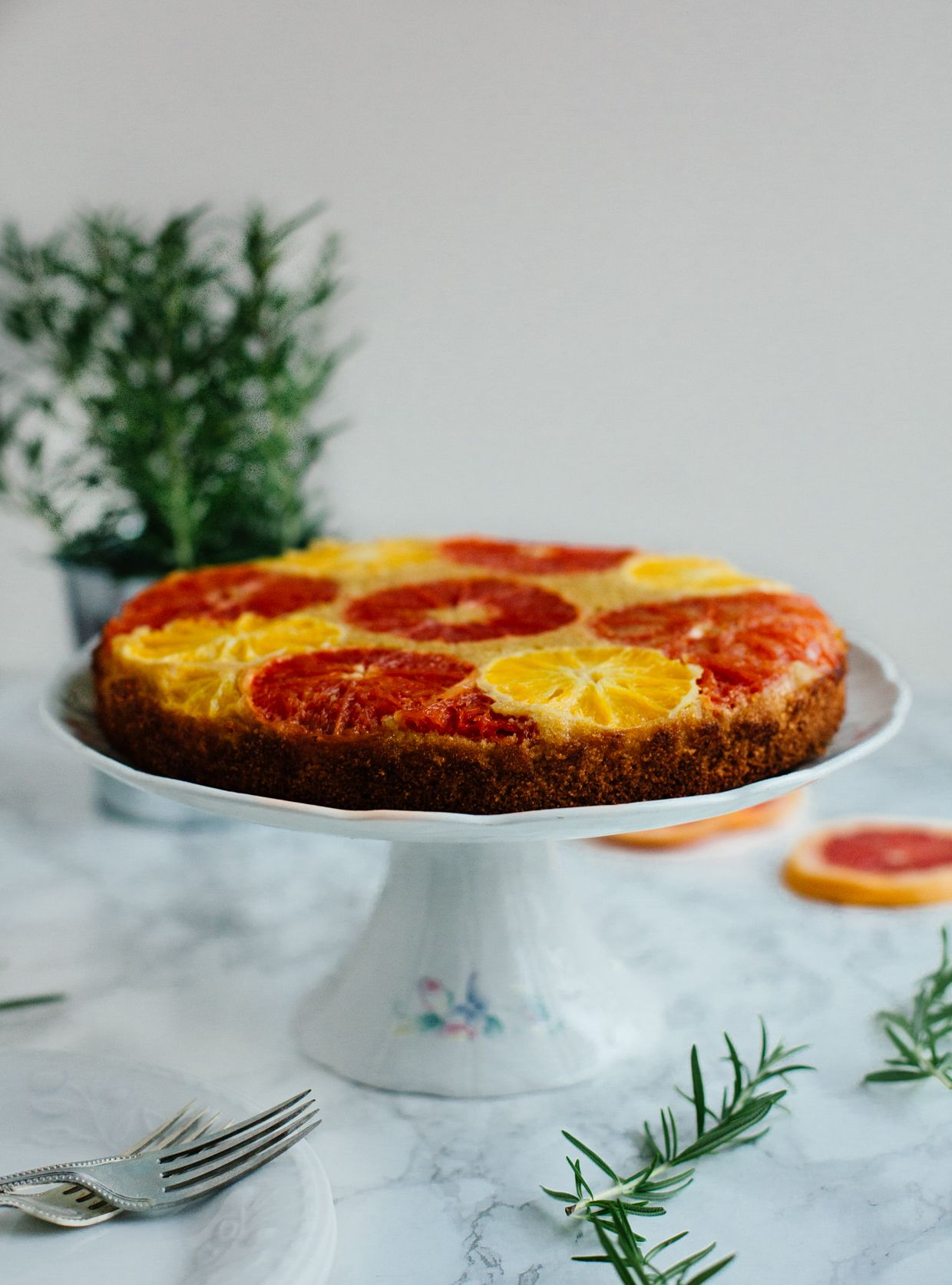 Citrus and rosemary olive oil polenta cake