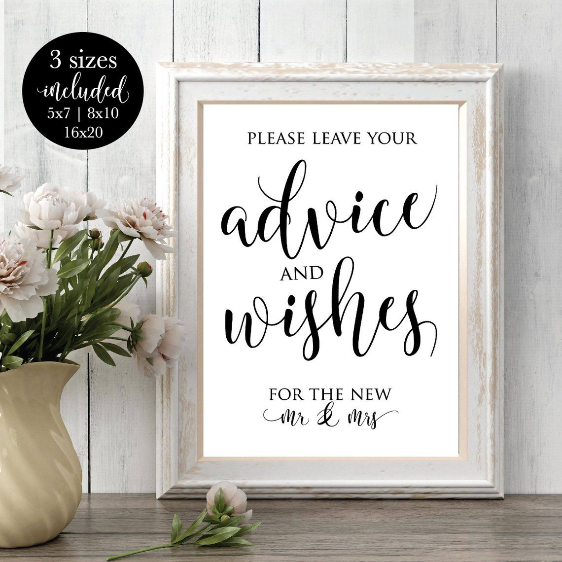 Bride And Groom Only Wedding Ideas: Advice And Wishes For Future Mr & Mrs Printable Wedding