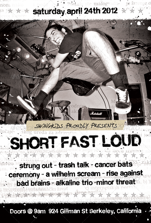 Short Fast Loud Punk Flyer Template Flyer Template Punk And