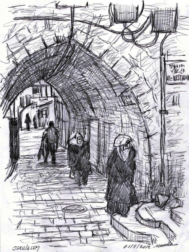 Line Art Jerusalem : Murilo romeiro herods gate jerusalem pencil sketch on