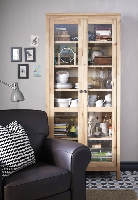 Multi-tasking bookcases make great homes for everything you like having around you. The glass-door HEMNES cabinet let's you show off, as well as protect your books, glassware or favorite collection.