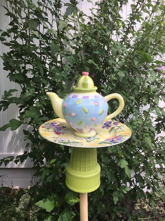 Whimsical Ceramic Bird Feeder   Teapot Bird Feeder   Garden Accessories    Upcycled Bird Bath   Upcycled Teapot Feeder   Lawn Art   Whimsy