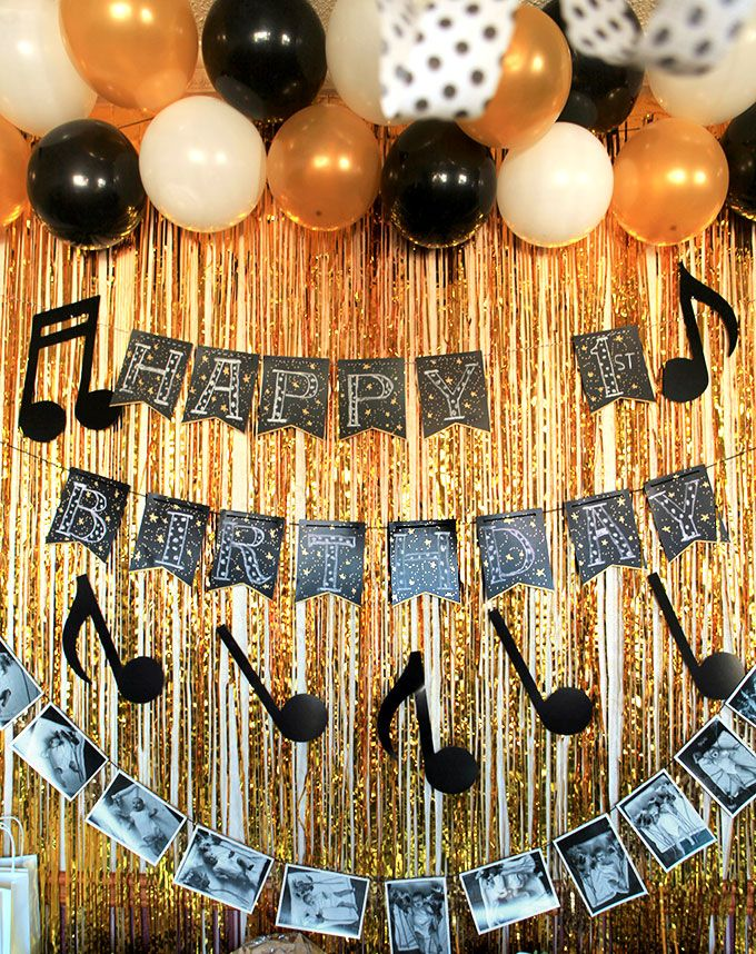 Black Gold And White Music Themed First Birthday Party