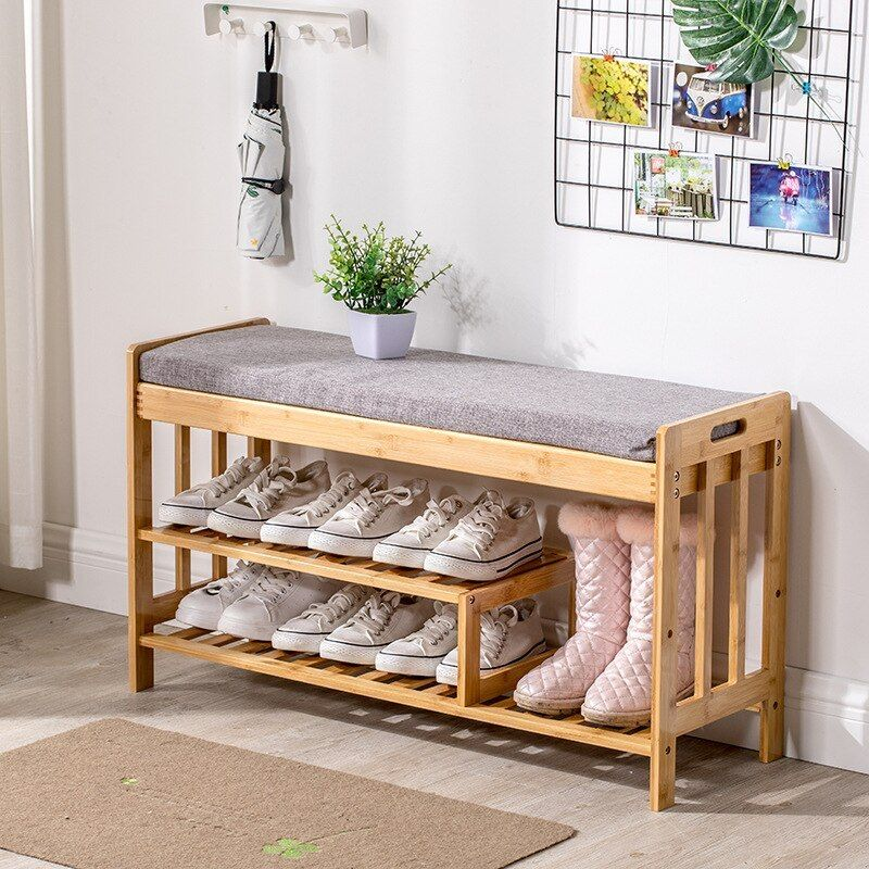 Bamboo Shoes Bench Entrance Wear Shoes Stool With Cushion Small Shoes Cabinet Simple Modern Solid Wood Multi L Shoe Bench Small Shoe Cabinet Shoe Rack Entryway