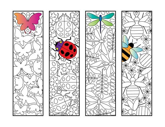 Insect Bookmarks - PDF Zentangle Coloring Page - Butterfly, Ladybug, Dragonfly, Bee #insects