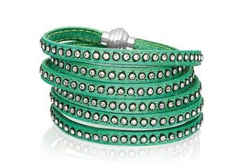 Bracelet Arezzo green leather with zirconia 90 cm.