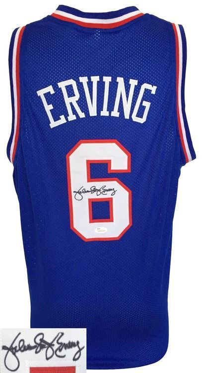 new style 5eed8 cc949 Featured is a signed Julius Erving Philadelphia 76ers red ...