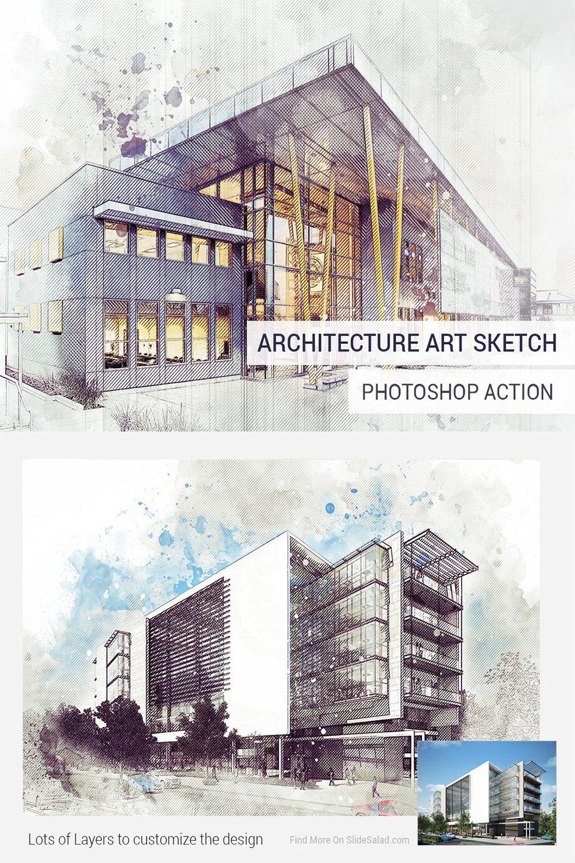 Architecture Sketch Photoshop Action Sketch Photoshop Watercolor Photoshop Action Photoshop Actions