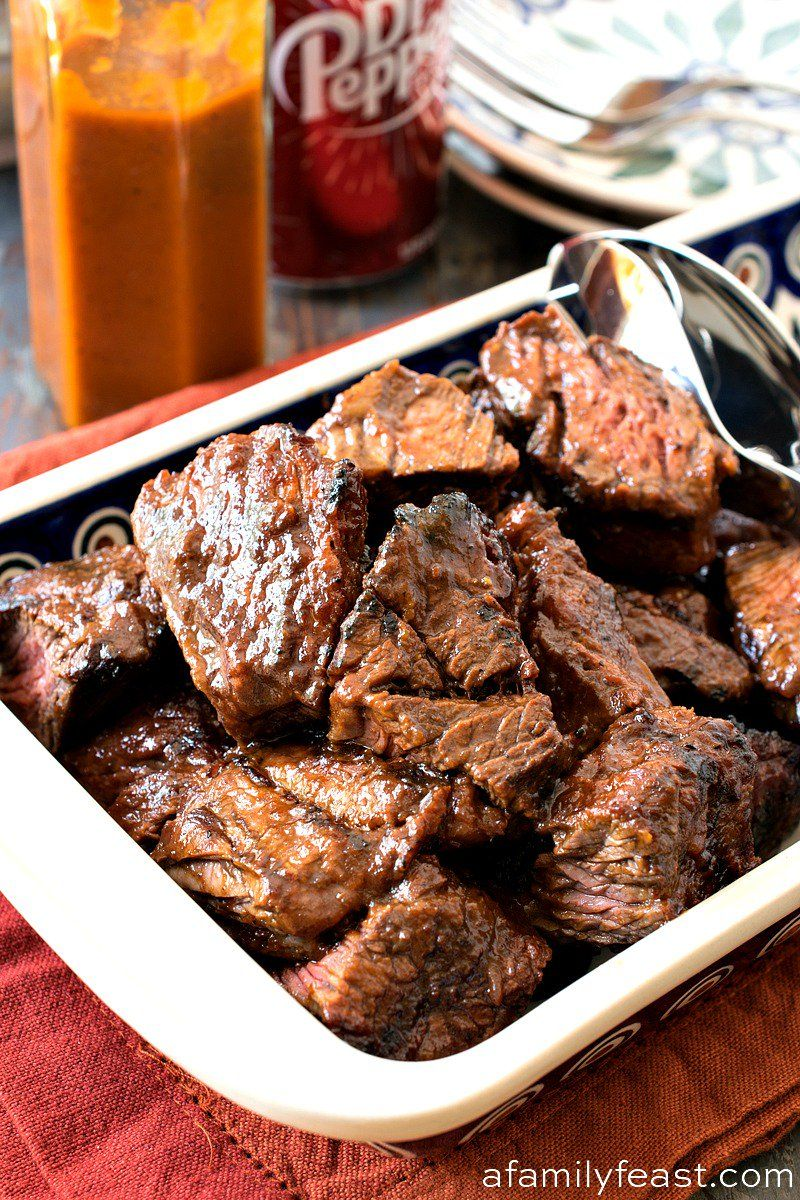 Tender Juicy And Loaded With Flavor Our Dr Pepper Grilled Steak Tips Are Sure To Become One Of Your Favorite How To Grill Steak Steak Tips How To Cook Steak