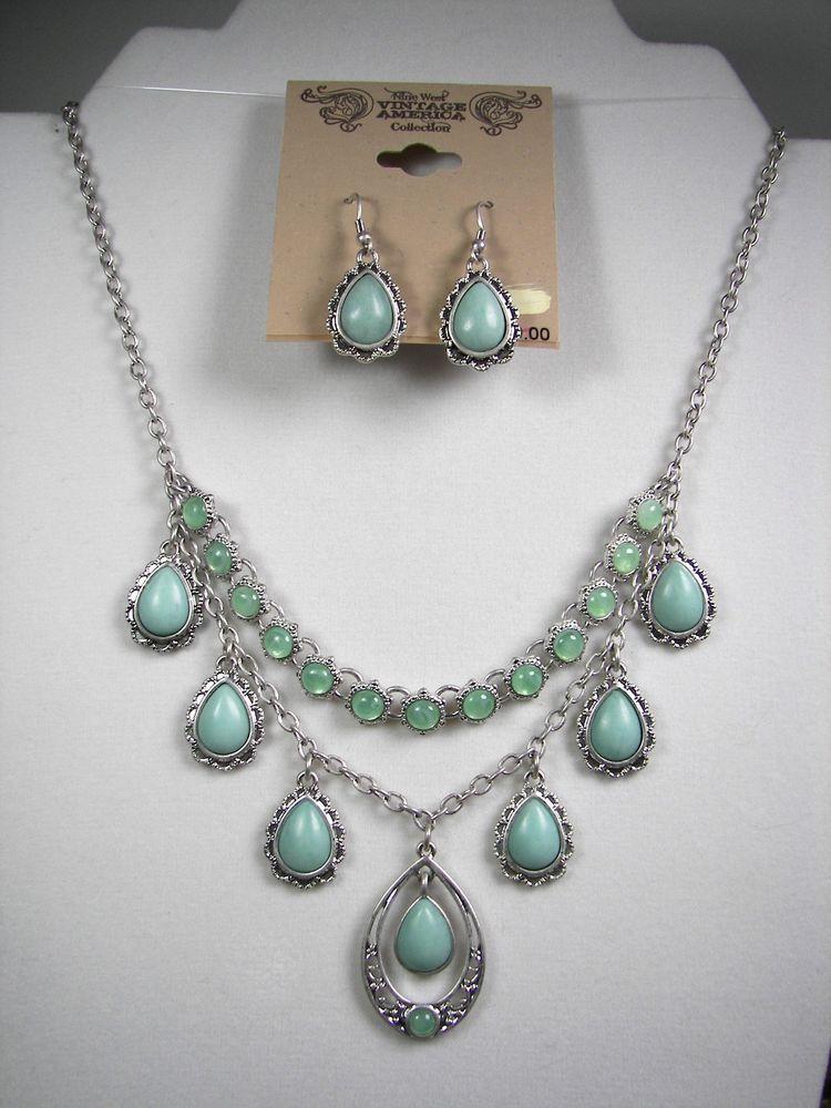 d39bc51659804 Nine West Vintage America Turquoise Silver Tone Teardrop Necklace ...