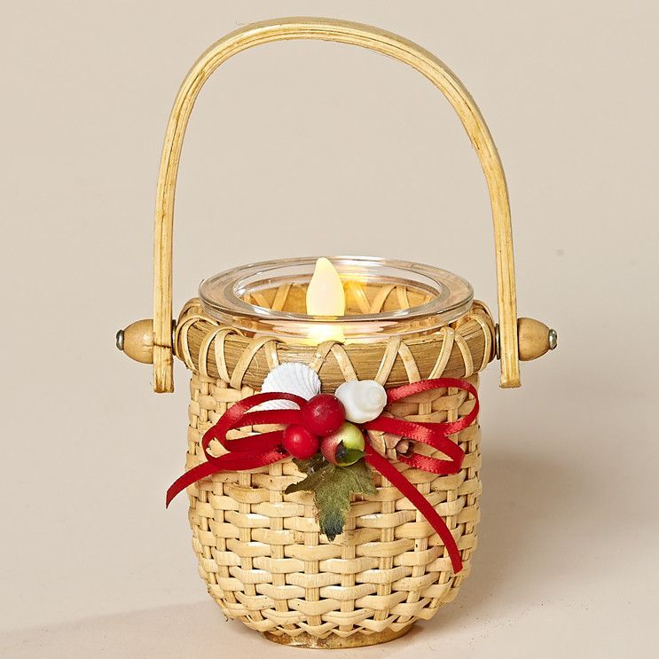 6 Inch Nantucket Style Tea Light Basket with WInter Berries, white shells and red bow.