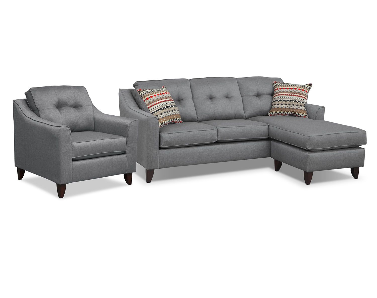 Marco Gray Sectional Living Room Collection | Value City Furniture ...