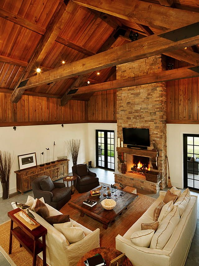 ranchstyle living room i love vaultedhigh ceilings cabin interior designcabin - Small Cabin Interior Design Ideas