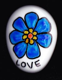 Beautiful White Opaque Glass Gem Stone Magnet Blue Flower Love Hippie Doodle Designed and Created By Kat