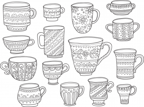 coffee cup coloring page  doodle coloring easy coloring