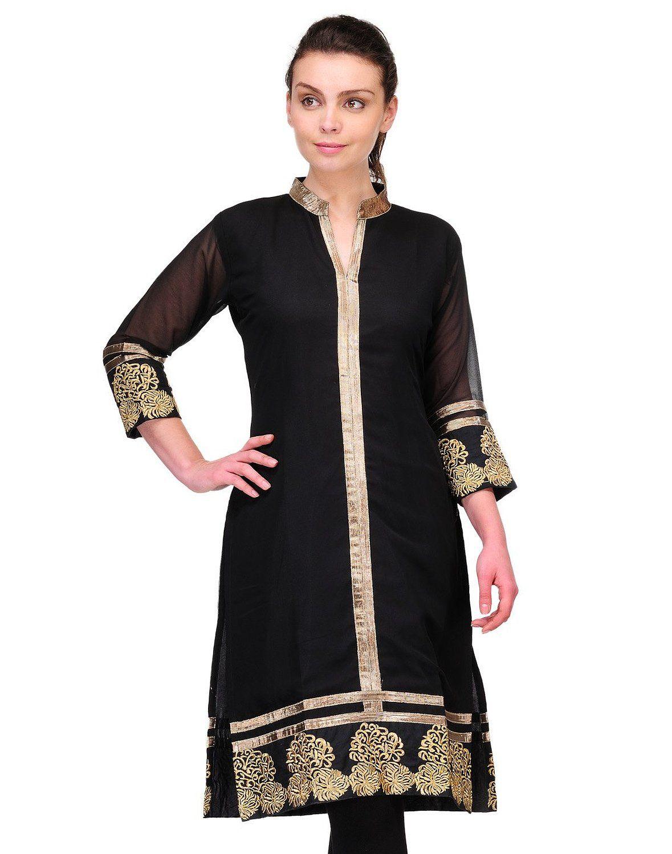 Cenizas Women's Indian Tunic Top Georgette Kurti Large Black at ...