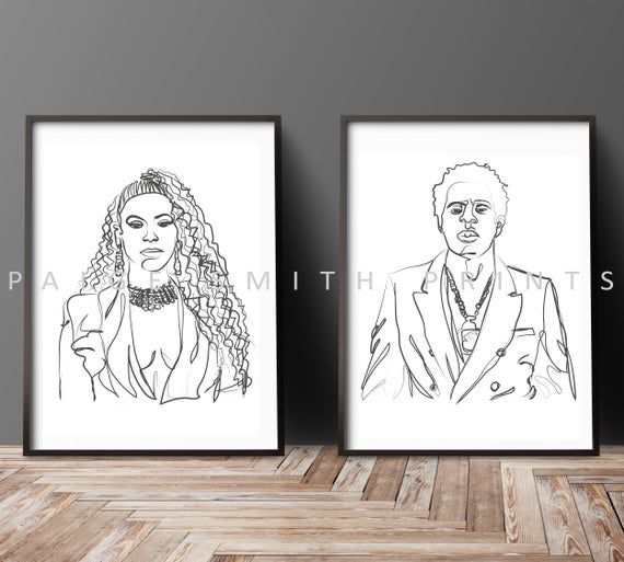 Beyonce And Jay Z Power Couple Bonnie And Clyde Etsy Beyonce And Jay Z Illustration Print Beyonce