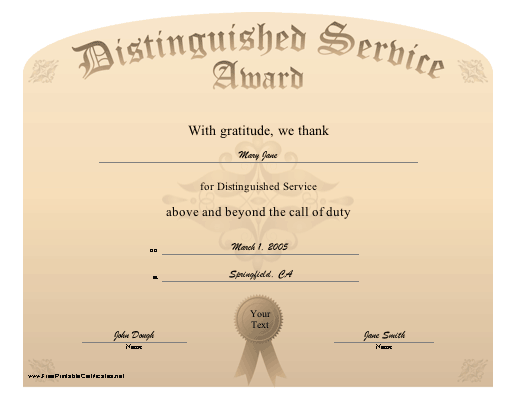 This Certificate Honors Distinguished Service Above And Beyond The