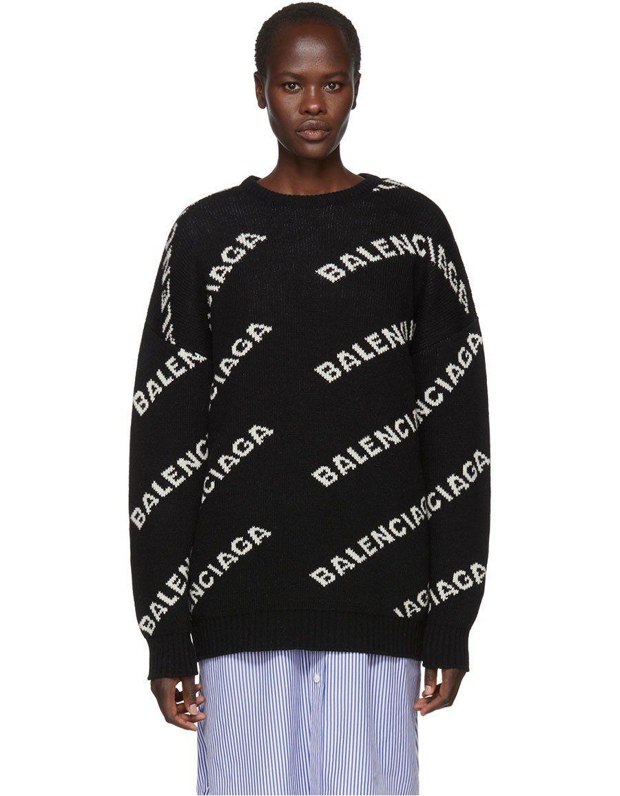 1a109bba7f BALENCIAGA Black All Over Logo Crewneck Sweater in 2019