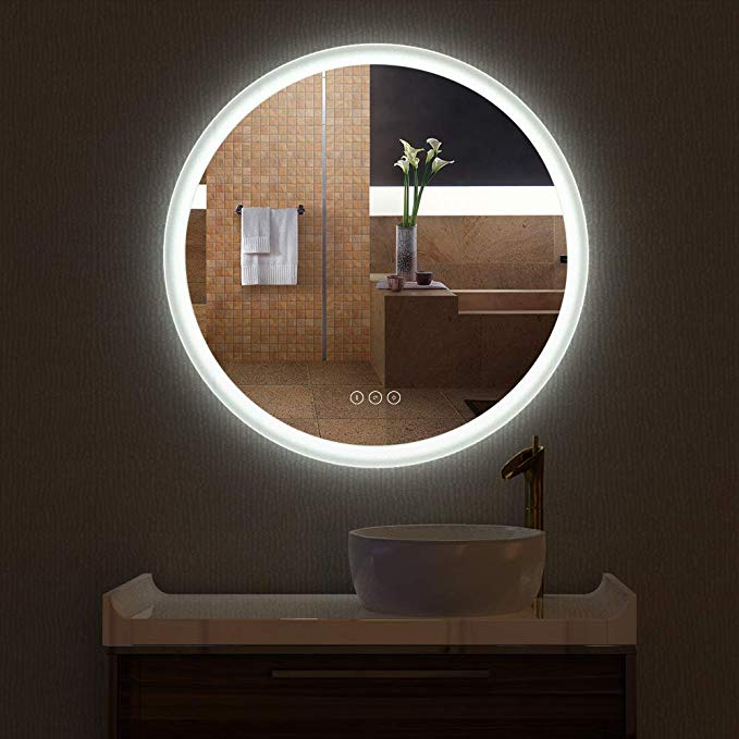 Amazon Com Hauschen R30inch Led Lighted Bathroom Wall Mounted Fogless Mirror With Adjustable 3000k Wa Wall Mounted Mirror Led Mirror Bathroom Bathroom Mirror