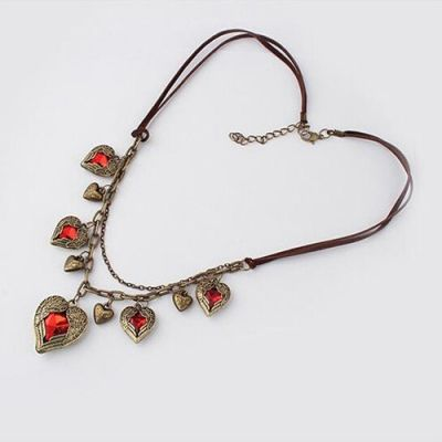 Vintage Angel Wing Red Gem Stone Heart Necklace Jewel
