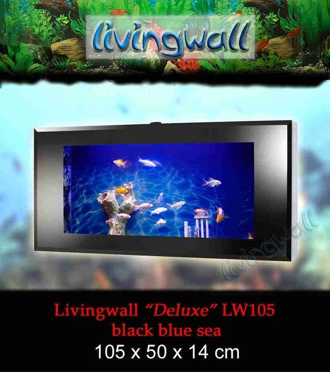 Acuario De Pared Livingwall 105 Blue Sea Con Mando A Distancia Oferta En Www Acuariosdepared Com Blue Sea Blue Black Aquarium