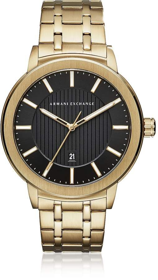 Armani Exchange Maddox Black Dial and Gold Tone Stainless Steel ... 228a341ca1