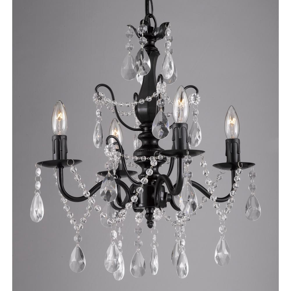 Contemporary 4 Light Black Iron And Crystal Chandelier T1 1001