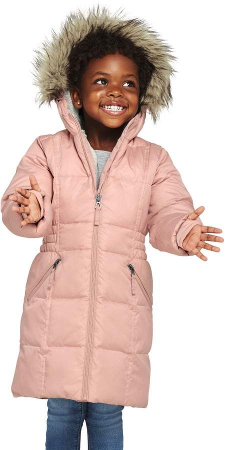 da35db01be81 Lands end Little Girls ThermoPlume Fleece-Lined Coat  quilted ...