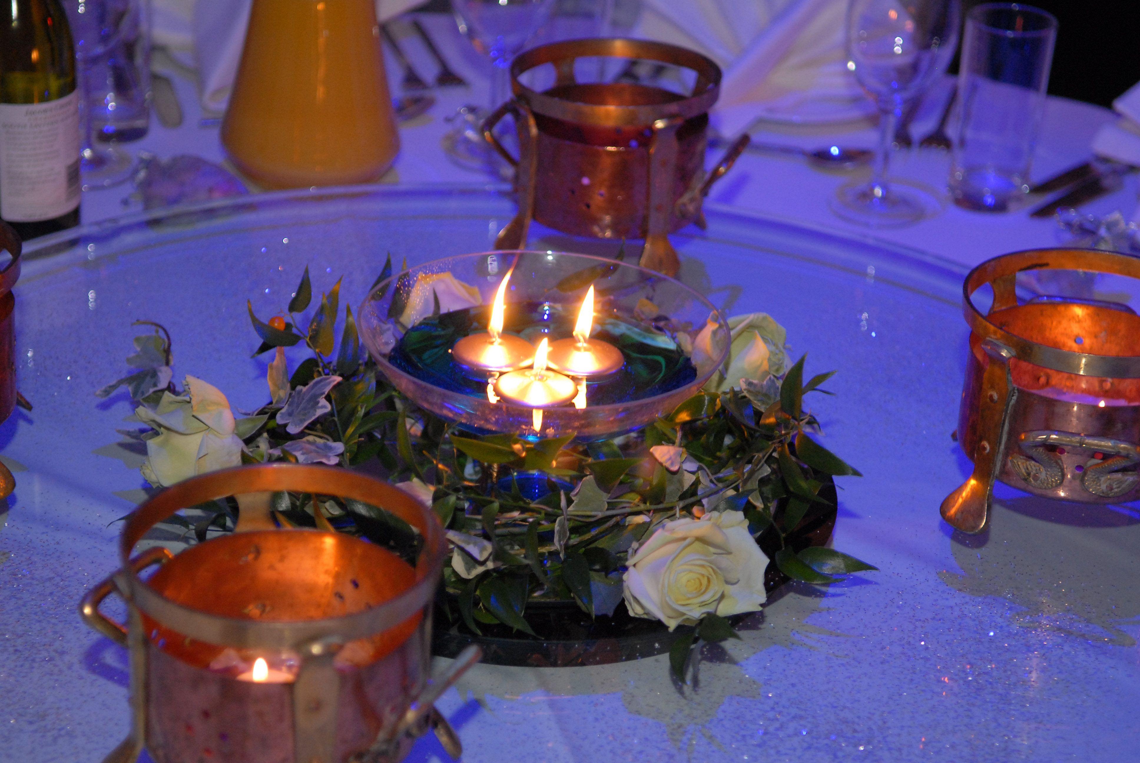 Round bowl vase coloured water floating candles ruscus and round bowl vase coloured water floating candles ruscus and rose ring mirrored reviewsmspy