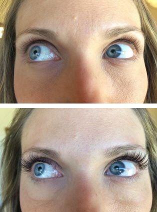 Full blended set of synthetic and mink lashes applied at Center of Attention Lash and Brow Studio