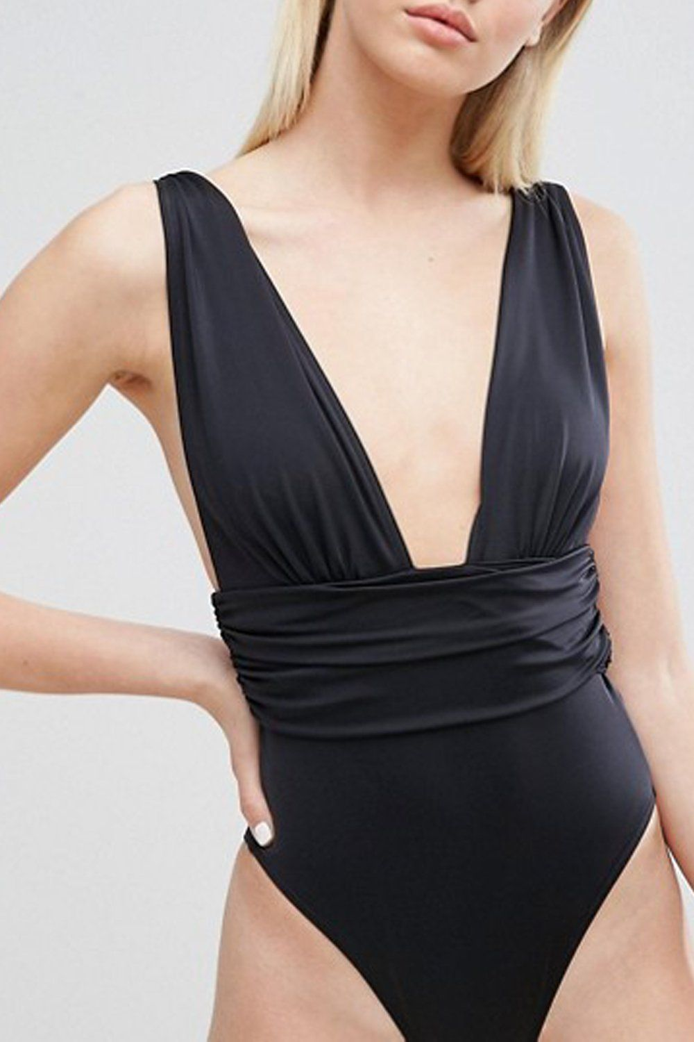 54ac4a0eb83 lyasson solid color V-neckline One piece swimsuit