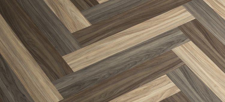 3 Color Herringbone Pattern Parterre Luxury Vinyl Plank