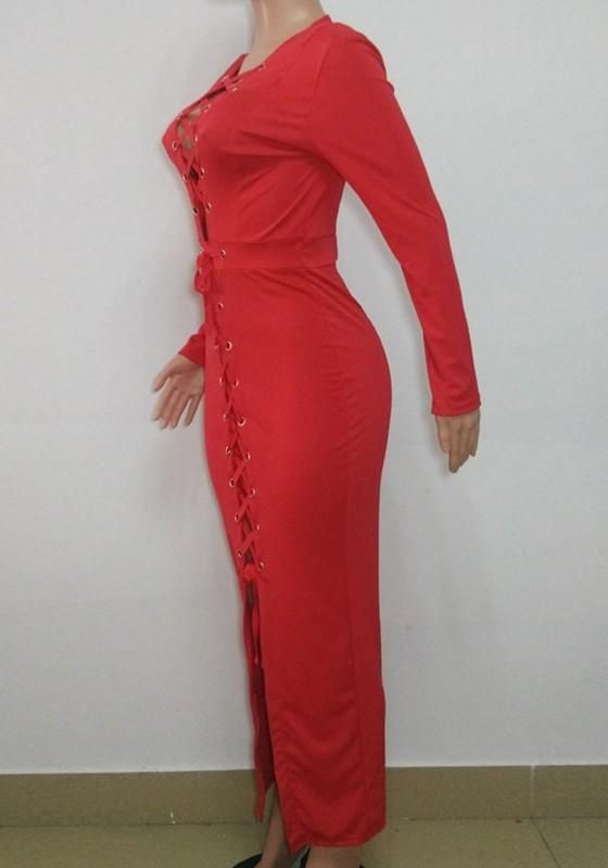 5c6cfc532d Red Cross Lace-up Bodycon Long Sleeve Deep V-neck Clubwear Maxi Dress