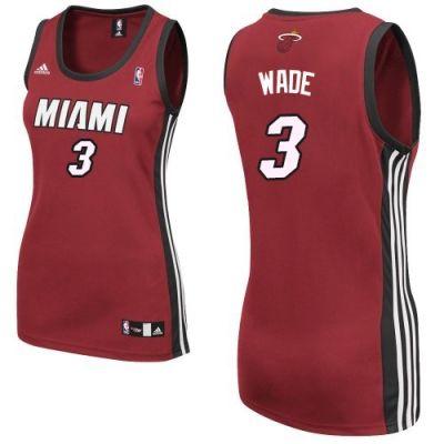 Dwyane Wade Swingman In Red Adidas NBA Miami Heat  3 Women s Alternate  Jersey 2d9983971