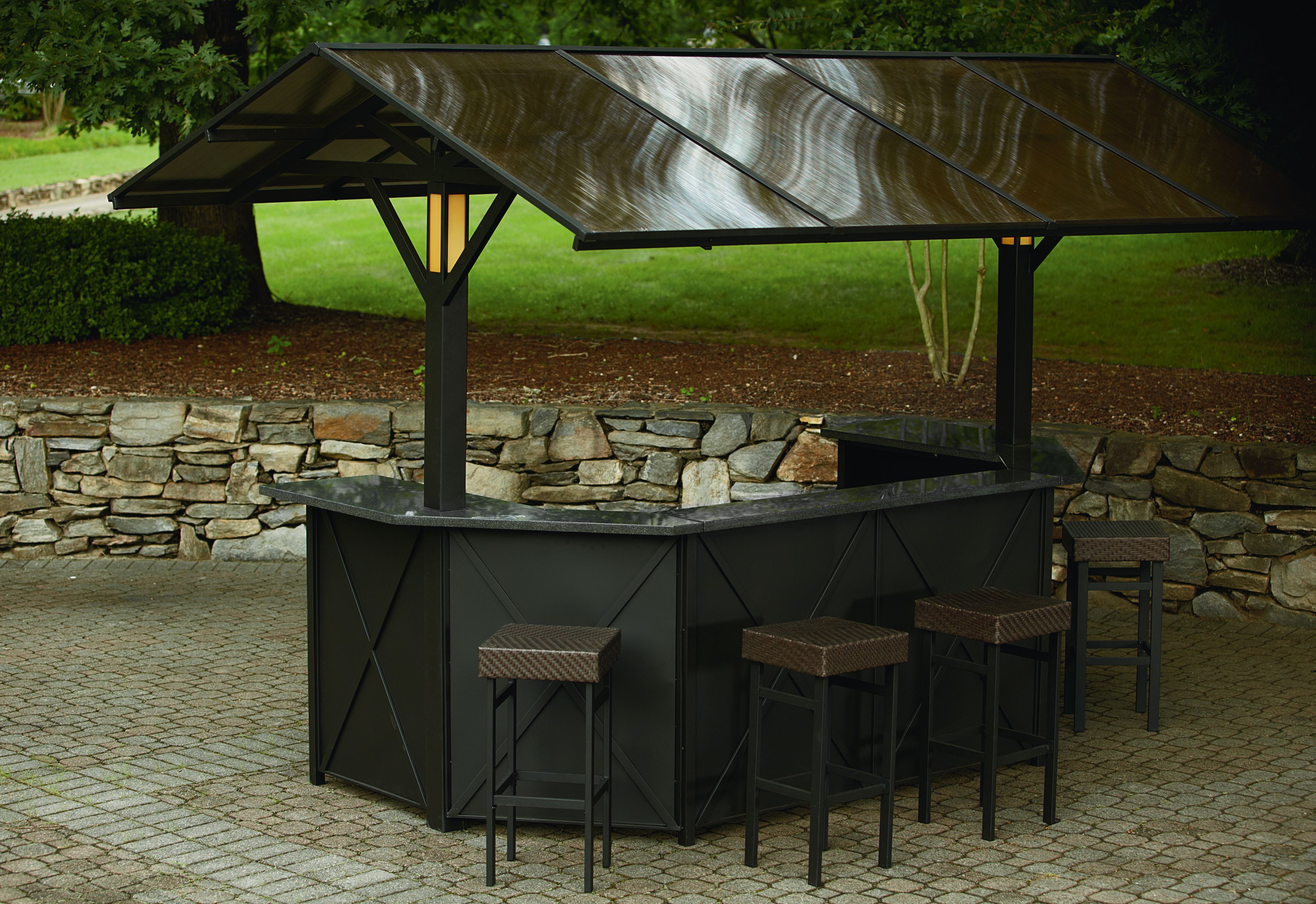 Sunset Beach Deluxe Lighted Music Hardtop Bar With 4 Stools