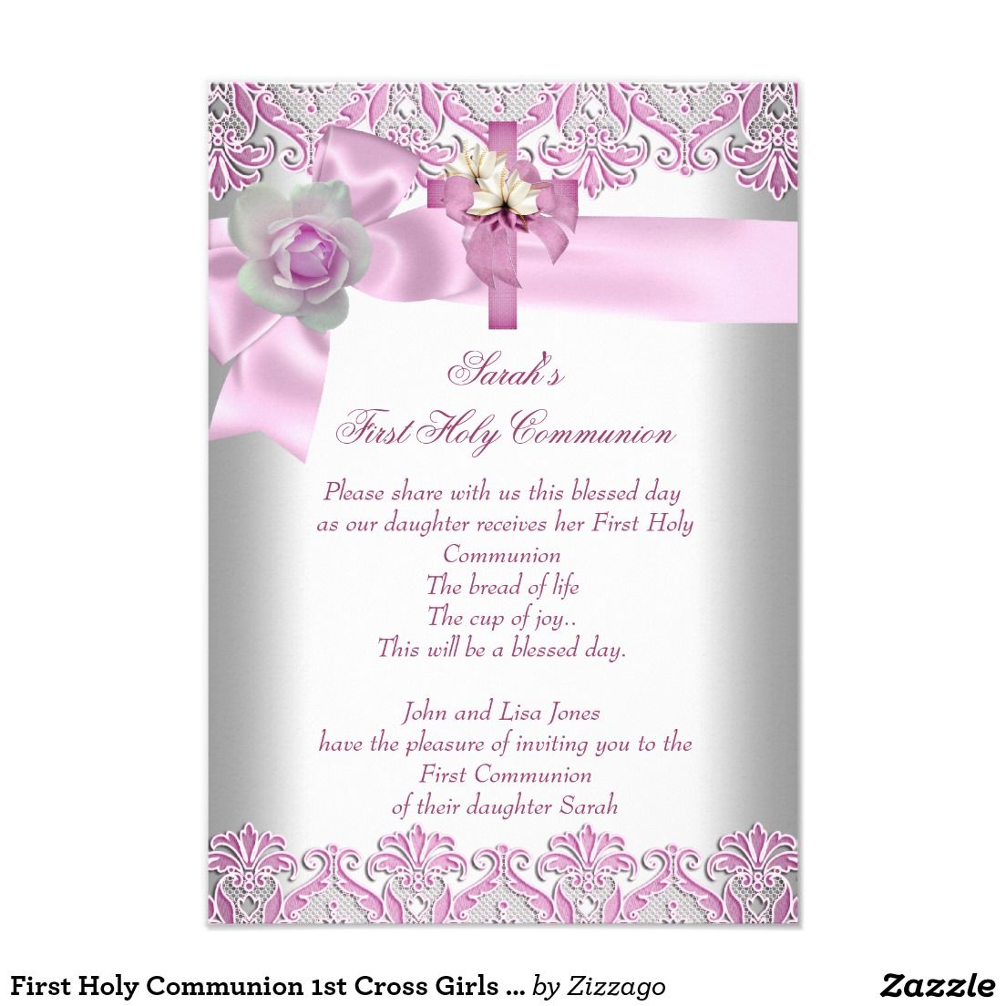 "First Holy Communion 1st Cross Girls White Pink 3.5"" X 5"" Invitation Card"
