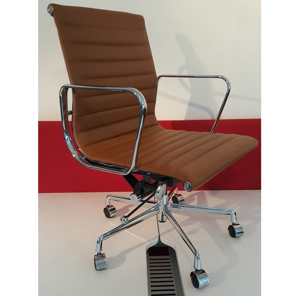 Eames Style Ribbed Leather Office Chair Tan Next Day Delivery