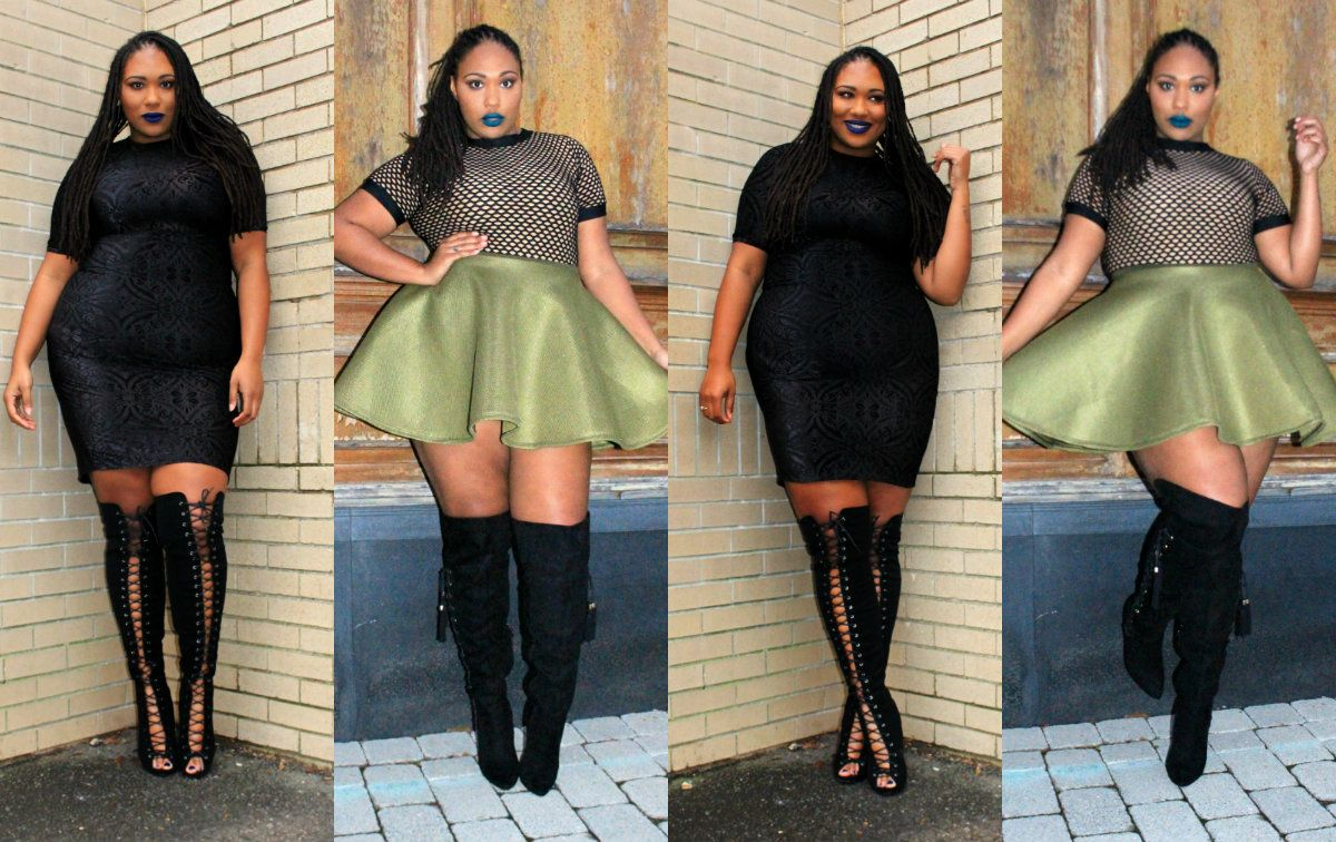 ddaf604654f Plus and Rocking it! | Fashionista | Thigh high boots outfit, Thigh ...