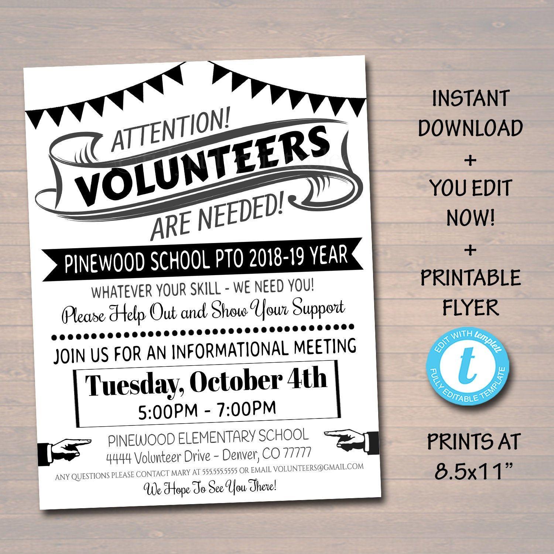 Editable Volunteer Recruitment Flyer Printable Handout School