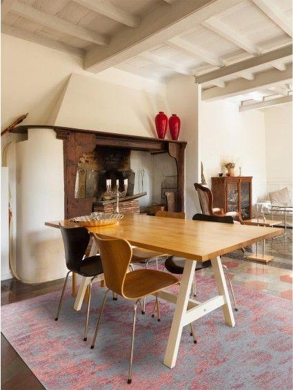 Flachgewebe Teppich Frencie Vintage Rot\/Blau Wohnzimmer - wohnzimmer modern barock
