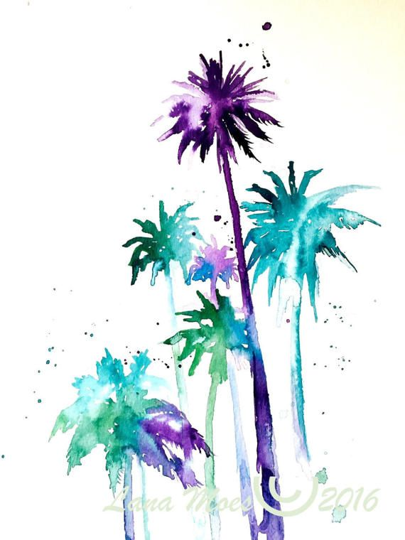 Tropical Palm Trees Watercolors Painting Travel Illustration By